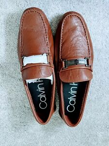 NEW Calvin Klein Mens Karns Slip On Driver Loafers in Tan Leather - 12 Reg $130