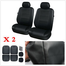 6Pcs/set Black Deluxe PU Leather Front Seat Car Seat Covers Cushion For Car SUV