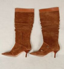 Michael Kors Chestnut Brown Suede Knee High Heel Pointed Toe Slouch Boots 7.5