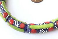Fine Green multi Ghana Handmade recycled Glass African Trade beads