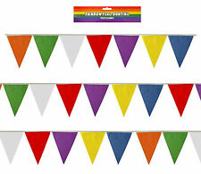 Rainbow Colours Bunting 25 Triangle Flags 7m 23ft Long PVC Indoor  Outdoor M1003
