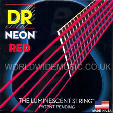 DR NEON NRA-11 Neon Red Luminescent/Fluorescent Acoustic Guitar strings 11-50