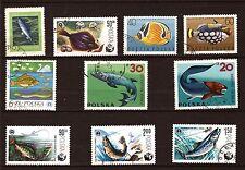 88T1  POLOGNE Les poissons communs et exotiques 10 Timbres obliteres