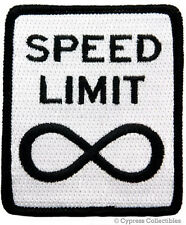 SPEED LIMIT INFINITY embroidered PATCH BIKER MOTORCYCLE ROAD SIGN IRON-ON