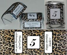 30 PERSONALIZED LEOPARD CHEETAH PRINT BIRTHDAY CANDY WRAPPERS FAVORS STICKERS