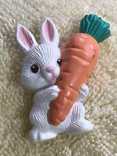 Hallmark White Bunny Rabbit Holding Large Carrot Brooch Pin Easter