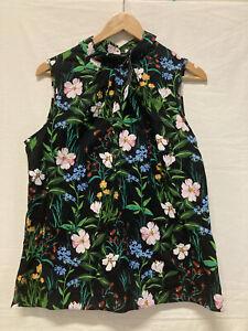 BNWT Dorothy Perkins Top Black Floral Mock Neck Swing Blouse Size 16 (001)