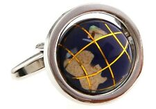 Globe Cufflinks Really Spin Earth Blue Wedding Fancy Gift Box Free Ship USA