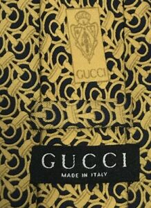 Gucci Made In Italy Men's Luxury Silk Tie Gold and Black