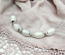 Halskette Polariskette weiß Perlen STRASS KÜSST POLARIS Kette Collier leicht