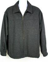 Aberdeen Collection Mens Wool Blend Jacket Coat Dark Gray EUC Size L - XL READ