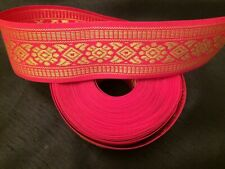 "11 2/3 yds of 1 3/8"" Jacquard Trim Gold Geometric on Hot Pink -100% Donation"
