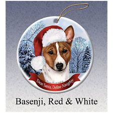 Basenji Red Howliday Porcelain China Dog Christmas Ornament