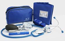 Blue Blood Pressure Sphygmomanometer Stethoscope Penlight Tourniquet GP - ICE