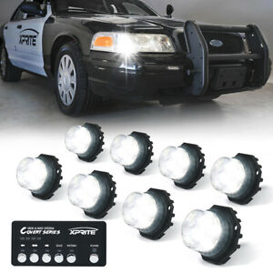 Xprite 8pcs Hideaway LED Strobe Light Kit Emergency Hazard Warning HeadLights