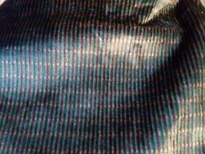 GREEN STRIPED Velvet UPHOLSTERY DRAPERY Fabric 3 YARDS