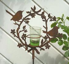 Windlicht 2 Vögelchen mit Blütenkranz 2tlg. mit Stab Gartenstab Metall Edelrost
