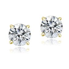 Gold Tone over Sterling Silver 100 Facets Cubic Zirconia Stud Earrings (3cttw)