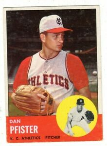 1963 Topps #521 Dan Pfister - Kansas City Athletics, Excellent Condition