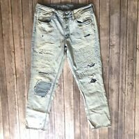 American Eagle Women 8 Tomgirl Jeans Light Acid Wash Distressed Ripped Cotton