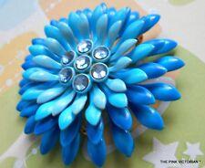 VINTAGE METAL ENAMEL FLOWER PIN, BEAUTIFUL BLUE OMBRE COLORATION,RHINESTONES
