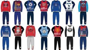 Boys Kids Football Club Pyjamas Nightwear Arsenal Chelsea PJs Long Sleeve LFC