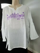 Women's 100% Cotton Khmer Angkor Wat Hippie V-Neck Beach Yoga T-Shirt Size L
