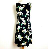 Phase Eight Midi Dress UK 12 Black Floral Fit Flare Cotton