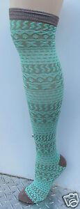 K.Bell Pattern Stripe Over The Knee Socks Womans Ladies Aqua Green Brown New