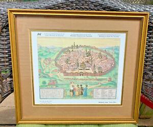 """Jerusalem The Holy City Map Braun-Hogenberg Germany 1594 Print Framed 16"""" x 18.5"""