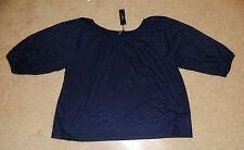 Womens TALBOTS Navy Blue Balloon 3/4 Length Shirt, Sz. 1XP ~ NWT