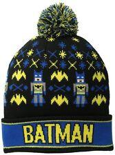 DC Comics Batman Beanie Intarsia Comic Book Pom Beanie Winter Knit Hat New