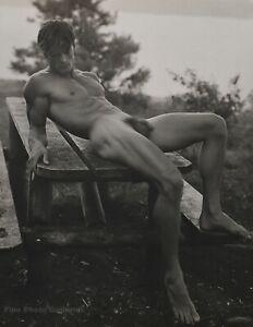 1988 Vintage BRUCE WEBER Male Nude PAUL Picnic Table Adirondack Photo Art 11X14