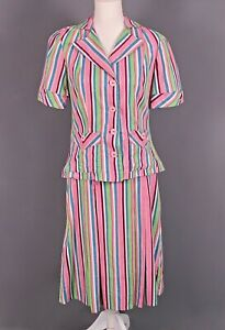 VTG Women's 40s Pink & Green Striped Cotton Top & Skirt Set Sz M 1940s Outfit