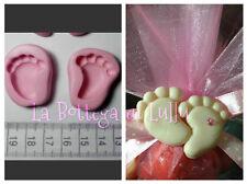 2 Stampini STAMPI piedi nascita bimbo baby BOMBONIERA,GESSO FIMO SEGNAPOSTO PMD