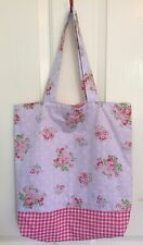 Ladies Handmade Pink Roses & Gingham Shopper tote school library or casual bag