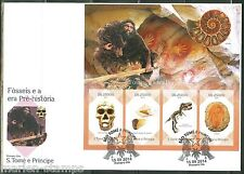 SAO TOME E PRINCIPE 2014 FOSSILS AND PREHISTORIC ANIMALS SHEET OF 4 STAMPS FDC