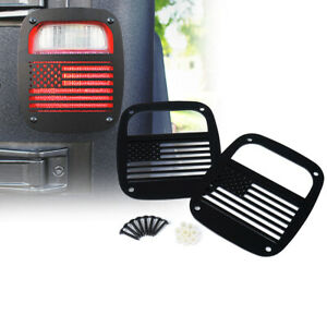 Xprite Steel US Flag Tail lights Cover Guard for 1987-2006 Jeep Wrangler TJ YJ
