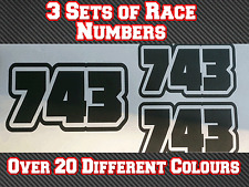 Race Numbers x3 Motocross MX Custom Vinyl Sticker Decals Trials Dirt Bike N5