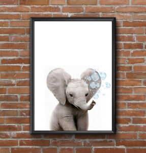 CUTE BABY ELEPHANT BUBBLES NORDIC MODERN SCANDINAVIAN  ANIMAL A4 ART PRINT