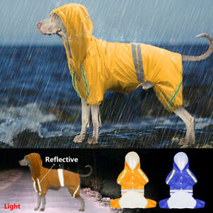 Reflective Rain Coat for Small to Large Dogs Mesh Waterproof Hoodie Pet Rainwear