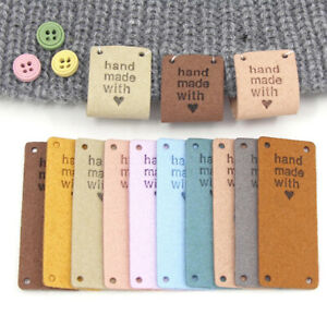 20pcs Labels Tags Hand Made With Love Leather Label For Clothes Sewing Craft DIY
