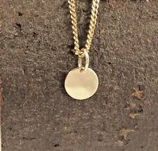 Solid 9ct 9k Yellow Gold 8mm Disc Pendant or Charm Polished Finish Engravable