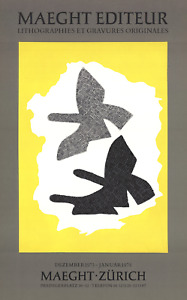 GEORGES BRAQUE Lithographie 26.75 x 16.75 Lithograph 1973 Cubism Gray, Yellow