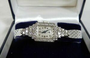 Art Deco Hamilton 750 Model 17 Jewel 1 Ct Diamond Watch 14 K Case 10KT GF Band