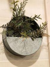 "Galvanize Metal Round Decorative Wall Pocket Planter approx 8"" Dia x 3"" Deep"