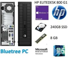 HP EliteDesk 800 G1 SFF i5-4690 8GB RAM 240GB SSD Win 10 Pro Desktop Computer PC