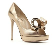 3cd07f831a7 Valentino PUMPS Couture Bow Open Toe Gold Leather Size 10 40