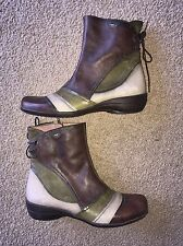 New Hispanitas Leather Lace Back Brown & Green Booties Boots Size 38 7.5 US