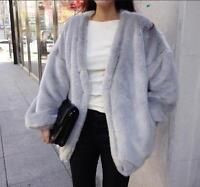 ladies girls loose winter faux Rabbit  fur jacket fur coat jackets outwear parka